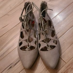 Size 6 Mia flat shoes with zipper back
